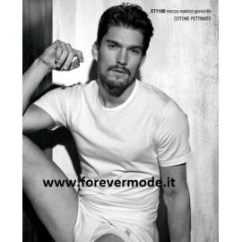 3 T-shirt uomo Enrico Coveri manica corta a girocollo basso in cotone mercerizzato