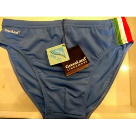Costume slip uomo Greenland in lycra royal con riga tricolore