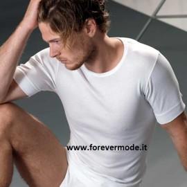 T-shirt uomo Gicipi manica corta a girocollo in filoscozia a costina 1/1