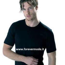 T-shirt uomo Gicipi manica corta a girocollo in filo scozia con logo su manica