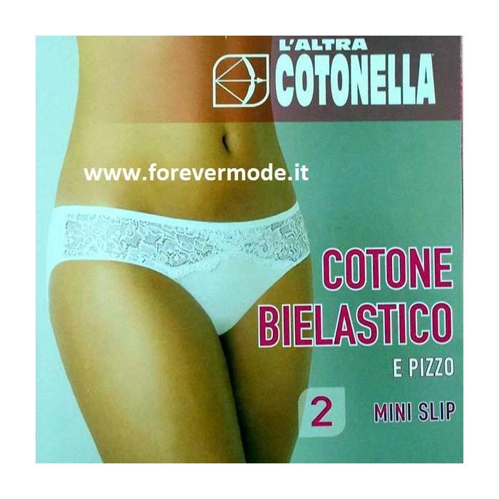 2 Slip da donna Cotonella in cotone elasticizzato con inserti di pizzo