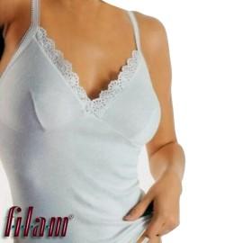 Canottiera donna Filam a spalla stretta in cotone con forma del seno e pizzo
