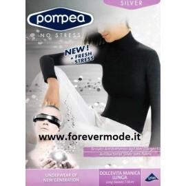 T-Shirt donna Pompea manica lunga con collo dolcevita in microfibra liscia