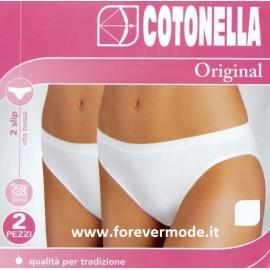2 Slip donna Cotonella vita bassa in cotone con elastico esterno