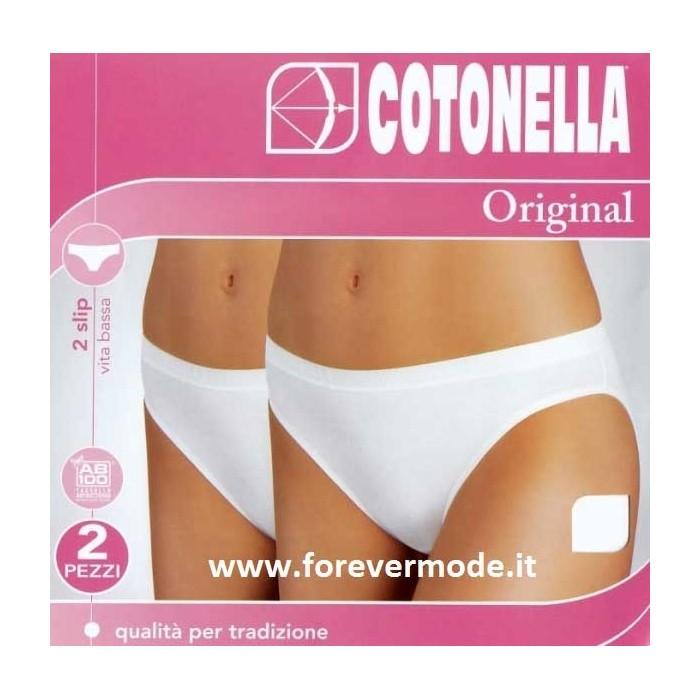2 Slip da donna Cotonella in cotone elasticizzato a vita bassa con elastico esterno