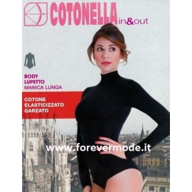 Body donna Cotonella manica lunga in cotone garzato con collo a lupetto