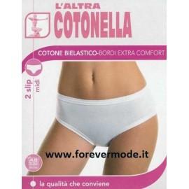 2 Slip da donna Cotonella midi in cotone elasticizzato con elastici tubolari