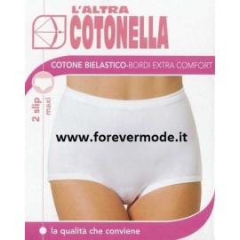 2 Slip da donna Cotonella maxi in cotone bi-elastico con elastici tubolari