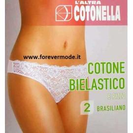 2 Slip brasiliane da donna Cotonella con cotone elasticizzato dietro e pizzo davanti