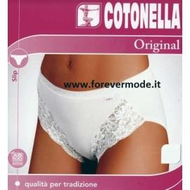 Slip donna Cotonella sgambato con pizzo in cotone elasticizzato