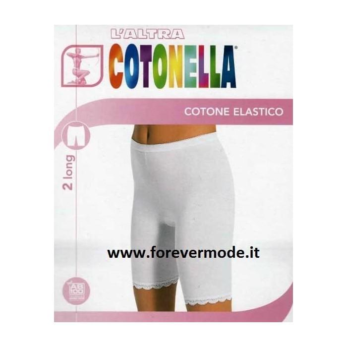2 Slip da donna Cotonella in cotone elasticizzato con gamba e profili in pizzo