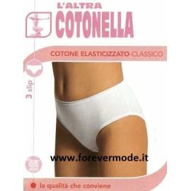 3 Slip donna Cotonella midi cotone elasticizzato elastici piatti