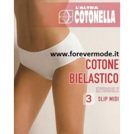 3 Slip donna Cotonella midi cotone elastico e cuciture antisegno
