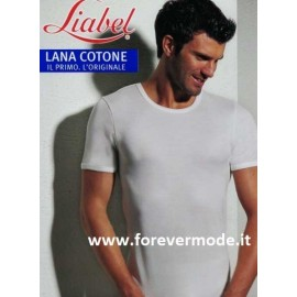 T-Shirt uomo Liabel manica corta a girocollo con esterno lana e interno cotone