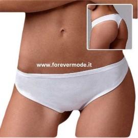 3 Slip perizoma donna Emy in cotone con elastici anti segno