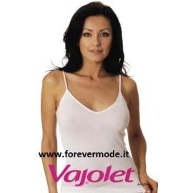 Canottiera donna Vajolet a spalla stretta con scollo a V in filoscozia con profili in raso