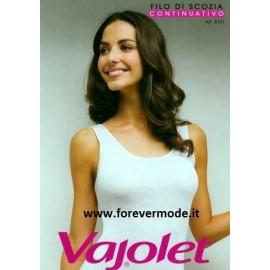 Canottiera donna Vajolet a spalla larga in filoscozia liscio con profili in raso