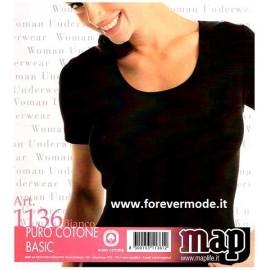 T-shirt maglia donna Map o FDB manica corta a girocollo in puro cotone