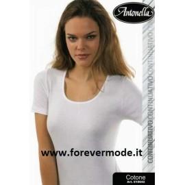 Maglia donna Antonella in cotone con profili in cotone
