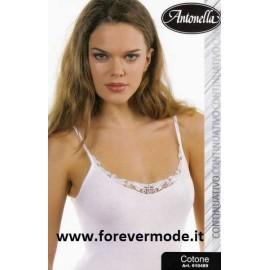Canottiera donna Antonella in jersey di cotone e pizzo macramè