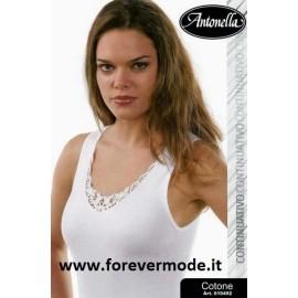 Canottiera donna Antonella a spalla larga in puro cotone con pizzo macramè