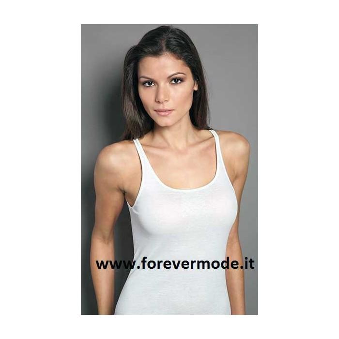 3 Canotte donna Moretta spalla media in cotone con profili raso