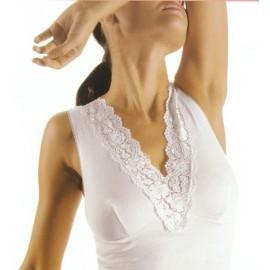 Canottiera donna Filam a spalla larga in cotone con forma del seno e pizzo