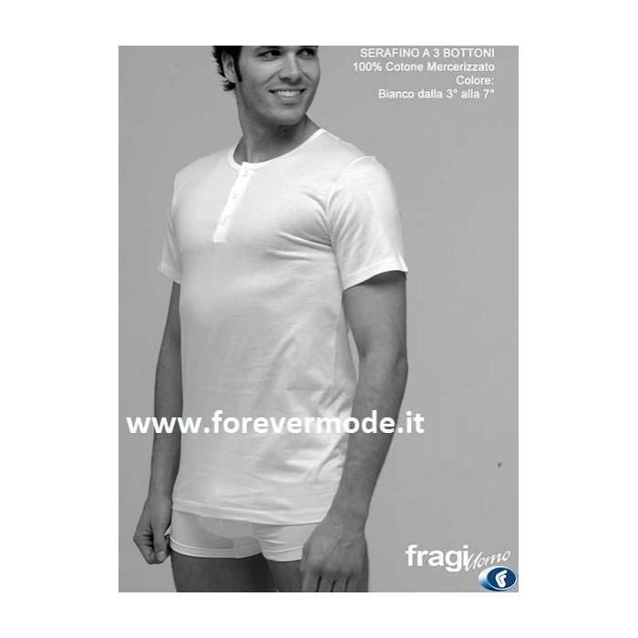 T-Shirt uomo Fragi manica corta a serafino 3 bottoni in cotone mercerizzato