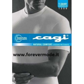 T-shirt uomo Cagi girocollo in cotone senza cuciture ai fianchi