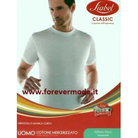 T-Shirt uomo Liabel manica corta a girocollo in cotone con collo largo