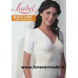T-shirt donna Liabel manica corta in caldo misto lana con forma del seno