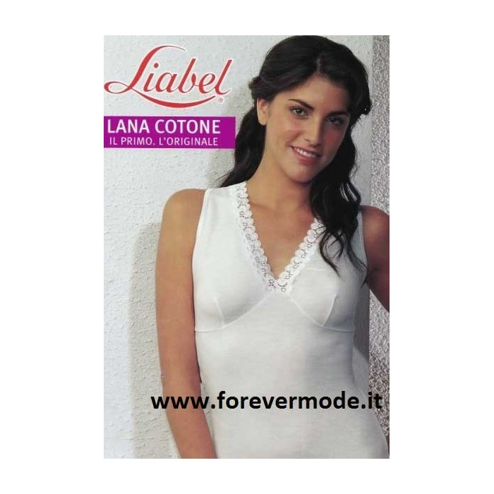 Canottiera donna Liabel a spalla larga in lana e cotone con forma seno e pizzo