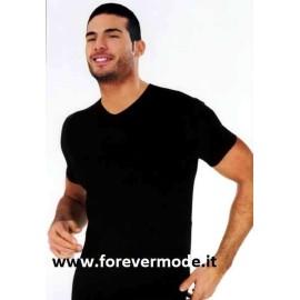 T-shirt maglia uomo Nottingham manica corta con scollo a V in cotone bi-elastico