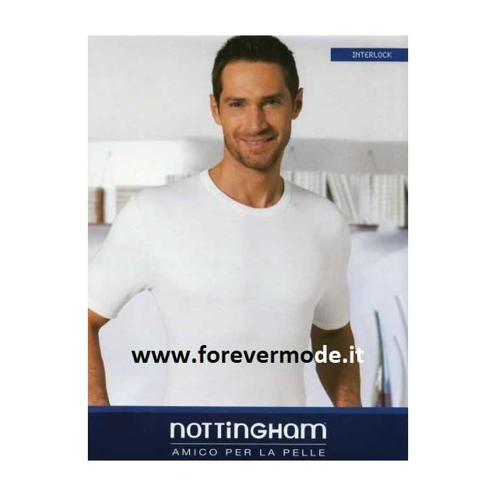 3 T-shirt uomo Nottingham manica corta a girocollo in caldo cotone felpato invernale