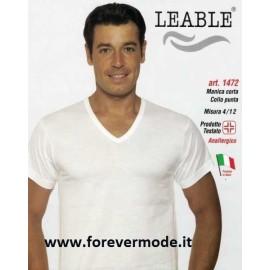 3 T-shirt uomo Leable manica corta con scollo a V in cotone mercerizzato