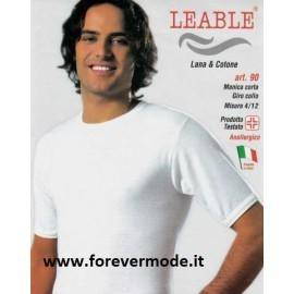 3 T-shirt uomo Leable manica corta a girocollo con cotone dentro e calda lana fuori