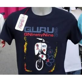 T-shirt uomo Guru manica corta a girocollo in cotone con stampa vespa e logo