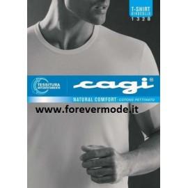 T-shirt uomo Cagi manica corta con girocollo basso in puro cotone pettinato