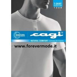 T-shirt maglia uomo Cagi manica corta a serafino in puro cotone pettinato