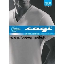T-shirt uomo Cagi in cotone pettinato con scollo a V largo
