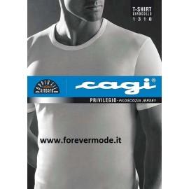 T-shirt uomo Cagi manica corta a girocollo in leggero filo di Scozia senza cuciture ai lati