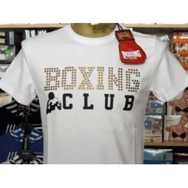 T-shirt maglia uomo Boxing manica corta a girocollo con stampa logo e borchiette