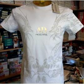 T-shirt uomo Angel Devil manica corta a girocollo in cotone con stampa e logo argento