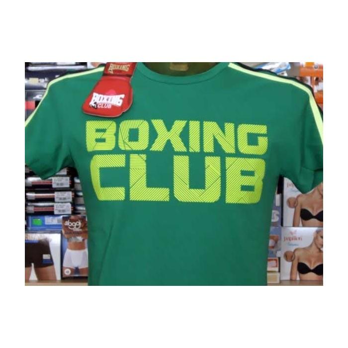 T-shirt maglia uomo Boxing manica corta a girocollo con bande e stampa logo fluo
