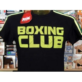 T-shirt maglia uomo Boxing con bande e stampa logo fosforescente
