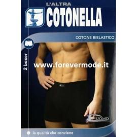 2 Boxer da uomo Cotonella in cotone elasticizzato con elastico interno