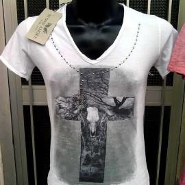 T-shirt uomo Stone Angel scollo V in cotone con stampa e borchie