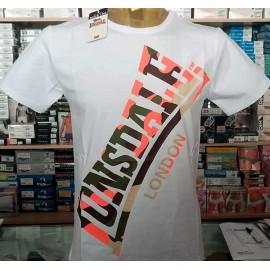 T-shirt uomo Lonsdale manica corta a girocollo in cotone elasticizzato con stampa logo