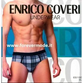 3 Slip uomo Enrico Coveri in cotone con motivo scozzese e logo