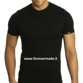 T-Shirt uomo Axiom manica corta con scollo a V piccolo in cotone elasticizzato con logo